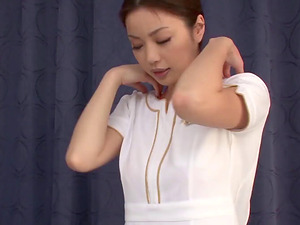 Japanese rubdown doll uses her mouth and twat to please her customer