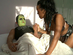 Frankensteins monster wakes up to fuck a hot black chick