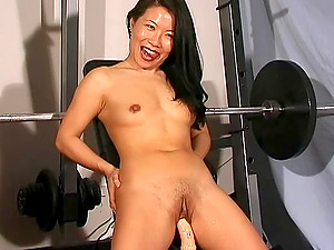 Going up and down on the realistic fuck stick brings her a large pleasure!