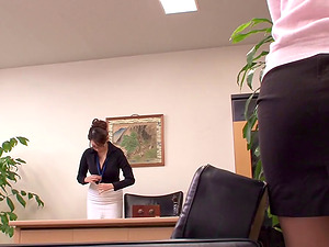 Fresh female at the office eaten out by a Japanese assistant