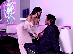 Elegant tart in the lounge fucked by a big shaft dude