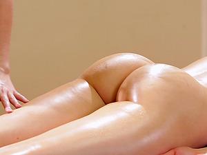 Bubble butt honey gets revved on in an erotic girl-on-girl rubdown