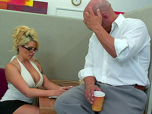 Bimbo assistant with a tramp stamp fucked in the office