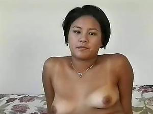Asian inexperienced fuckslut leans over for dick from her man