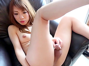 Leather miniskirt is smoking hot on a solo Japanese tranny