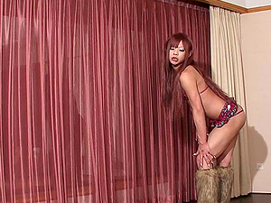 Mind-blowing shemale from the East masturbates her dick once again