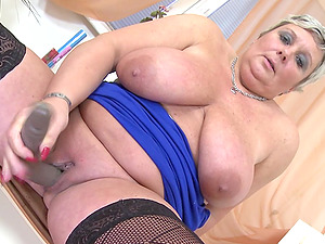 Playthings drive up into this BBW vagina and make the old bi-atch jizm