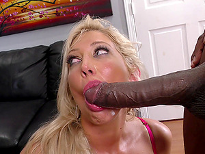 Promiscuous blonde loves a big black penis as her hotwife strokes