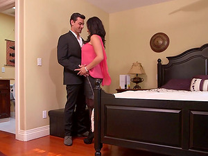 Tory Lane takes a man to sofa and fucks in stockings