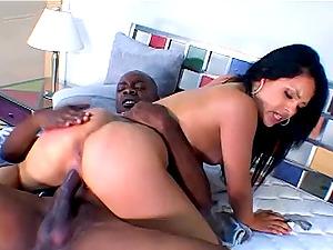 Sexy dame in a black leather band fucks his hard Big black cock