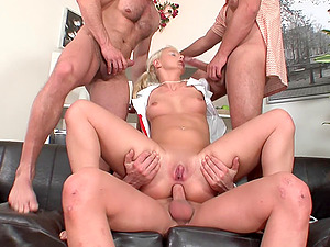 Tempting blonde nurse gets once pecker per each of her love tunnels
