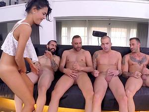 Trampy friends take on lots of dicks in a group scene