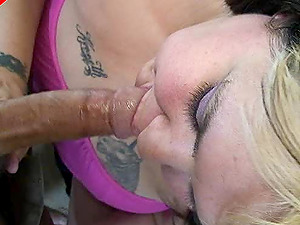 Lengthy dick gets hard as a rock in the sucking mouth of a curvy whore