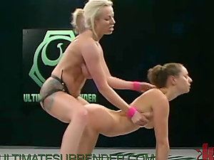 Huge-titted Blonde Wrestler Bangs Her Vanquished Enemy with Strapon Fake penis