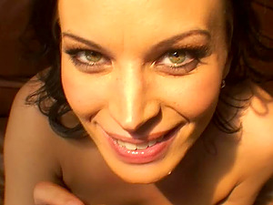 Pretty eyes female in a miniskirt inhales dick and fucks in Point of view