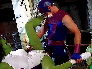 Horny senorita with the green skin is banged by the strung up superhero