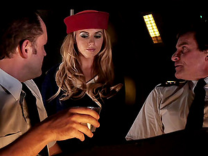 Trampy stewardess and the two pilots have a midair threesome