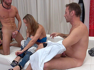 Nice lady becomes nasty and has a threesome with her best masculine friends