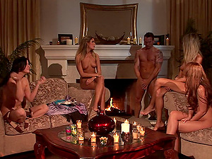 Fireside orgy with a group of supah hot couples