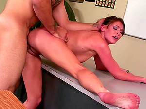 Victoria ultimately has a chance to practice the xxx snatch poking!