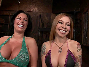 Three provocative bitches have some joy with studs in the dungeon space