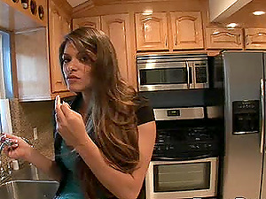 Cowgirl clean-shaved twat lovely banged xxx in the kitchen