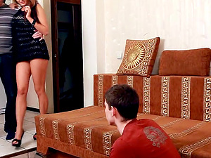 Huge-titted gf fucked as her cheating sees it all
