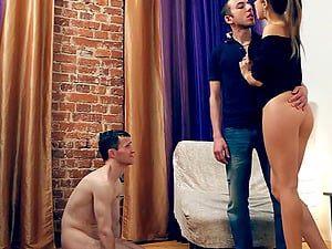 Cheating beau observes his Russian honey getting penetrated hard