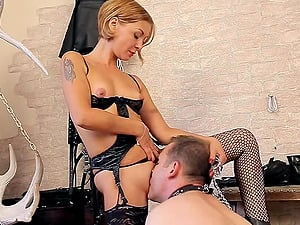 Subjugated rectally fingerblasted and strapon fucked by mistress