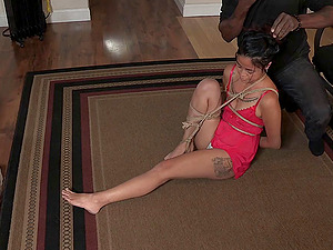 Stunner with flawless butt-cheeks is penetrated during the restrain bondage activity