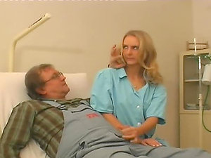 Sexy blonde medic has hook-up with an awkward repairman
