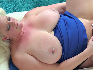 Pierced tits and bud of a BBW blonde masturbating with her massager