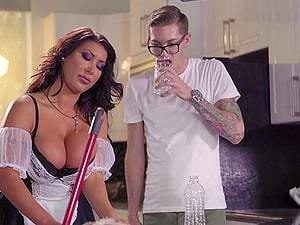 Buxom French maid fucking in her sexy fishnets