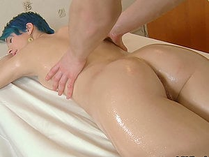 Dude in rubdown saloon oils this slender stunner Ulia and fucks her