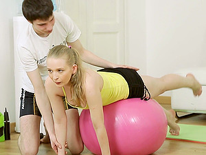 Inga's workout session completes up with spooning and the rear end drilling