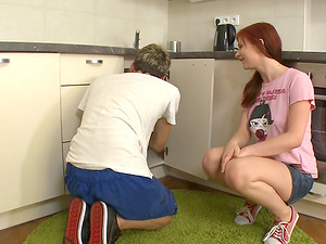 Insatiable sandy-haired stunner makes a thick member explode inwards of her