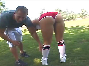 Big booty doll in socks luving sports then getting feasted hard-core doggystyle