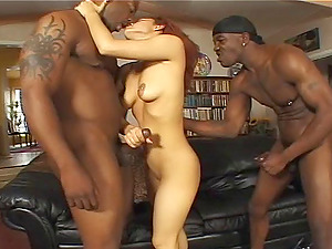 Sandy-haired Victoria has a blast with two black monster love contraptions
