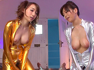 Kinky Asian ladies in colorific clothes having a threesome with a dude