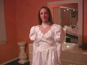 Stunner in a wedding sundress is excited about making a man's dick stiff