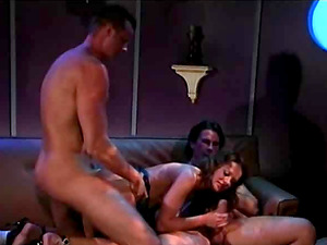 Alluring damsel screaming while her rectal is drilled gonzo in mmf porno