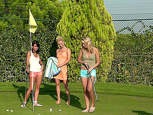 Three girly-girl golf players fucking on the golf course