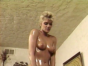 Oiled blonde gives a brilliant rubdown and gets fucked