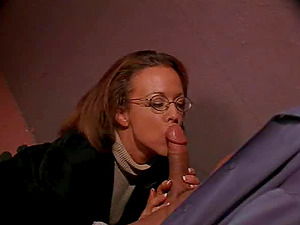 Nerdy stunner in sexy stockings gets fucked and downright cum-covered