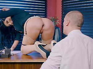 Sexy biz woman Romi Rain is in need of a stiff dick