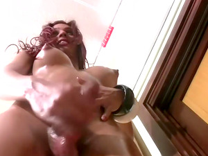 Faux tits shemale shading undies then wanking passionately