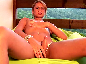 Fine big donk shemale finger-tickling her ass fucking passionately