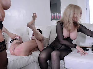 Nina Hartley and a hot sandy-haired have fun with their lovemaking victim