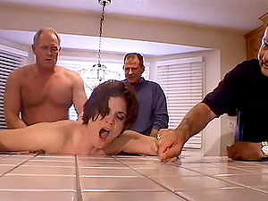 Three mature studs have a blast with a kinky brown-haired chick