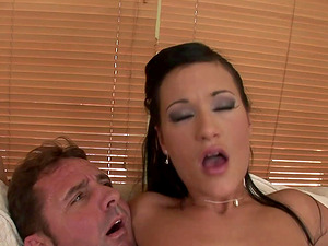 Missy Nicole wrecks her greasy slide on top of her fella